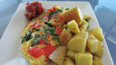Vegetable Omelette with Side Roast Potatoes