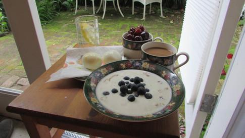 Porridge with Side Eggs & Fruit