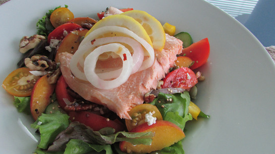 Poached Salmon with Greens & Pickled Onions