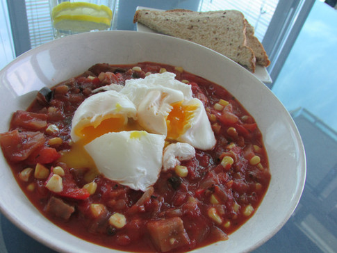 Veggie Chilli with Poached Eggs