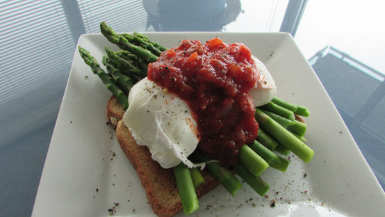 Poached Eggs with Asparagus on Toast Topped with Salsa