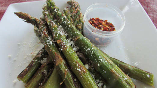 Roasted Asparagus Fries with chilli flakes