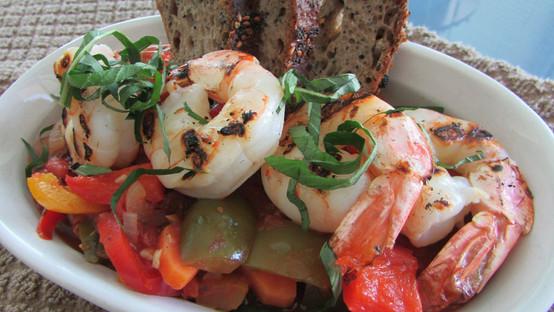 Shrimp with Rice Medley, Grilled Peppers & Steamed Vegetables