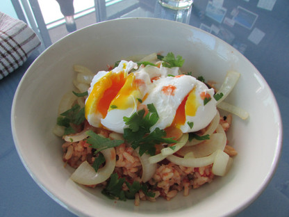 Poached Eggs on Rice