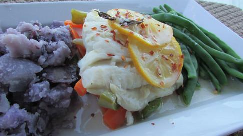 Poached Cod, Smashed Purple Potatoes & Veggies