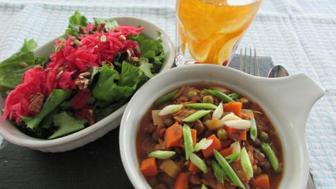 Lentil Chili and Side Salad
