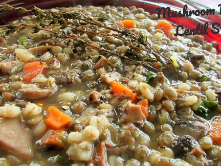 Mushroom Barley Lentil Stew with Swiss Chard