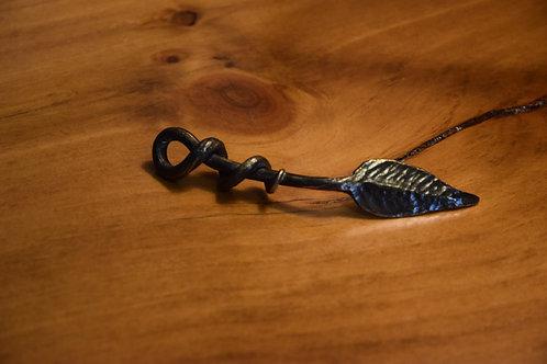 Hand-forged bronze leaf key ring/pendant.