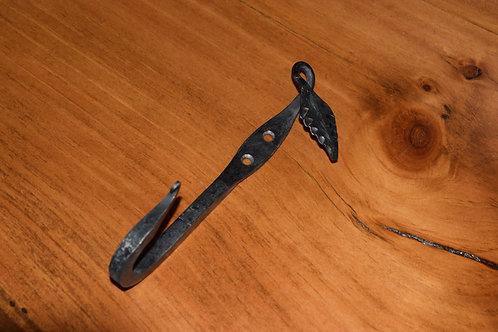 Hand-forged steel hook.