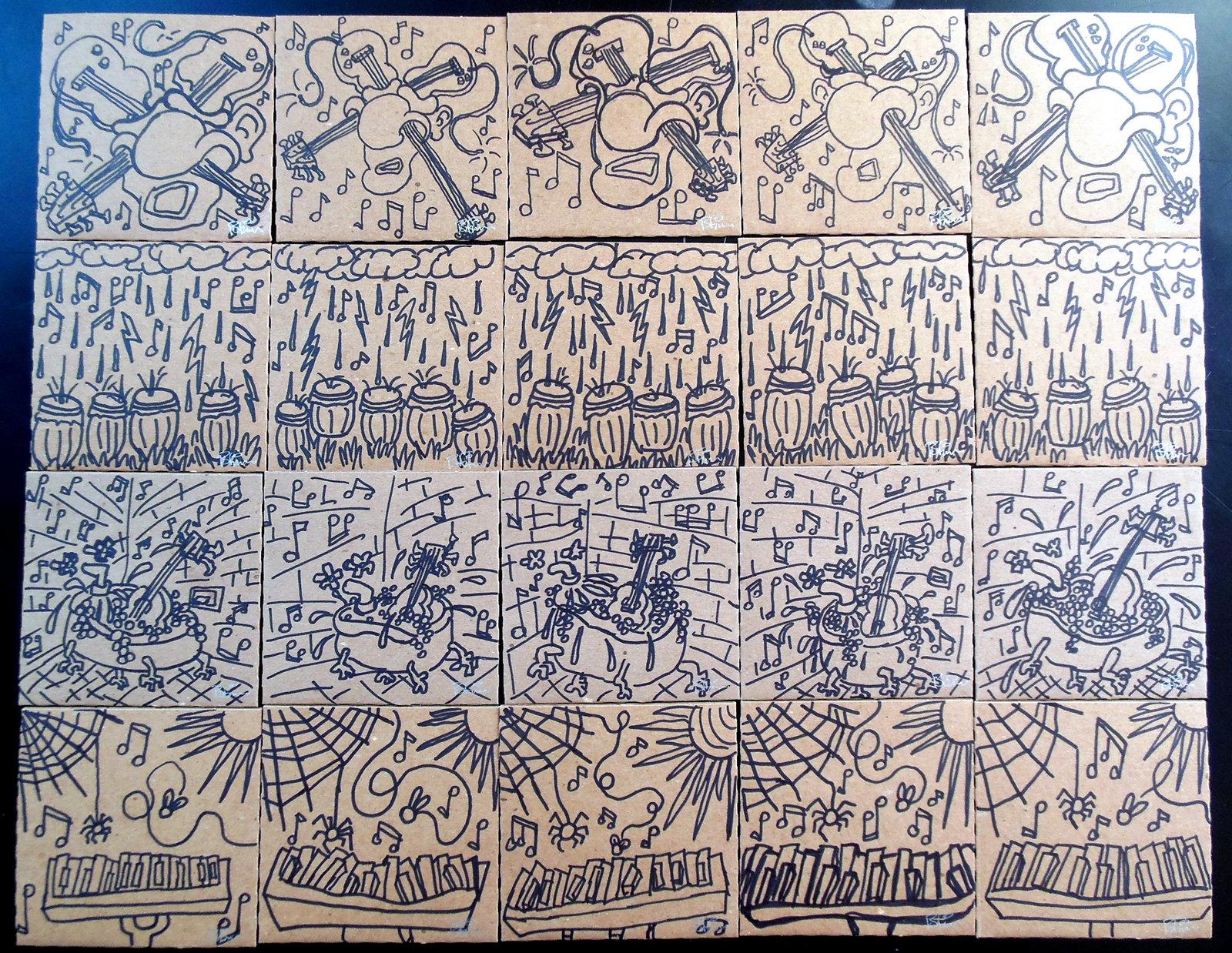 Tucker Hill Citizens Brigade 100 hand-drawn cd sleeves 61-80