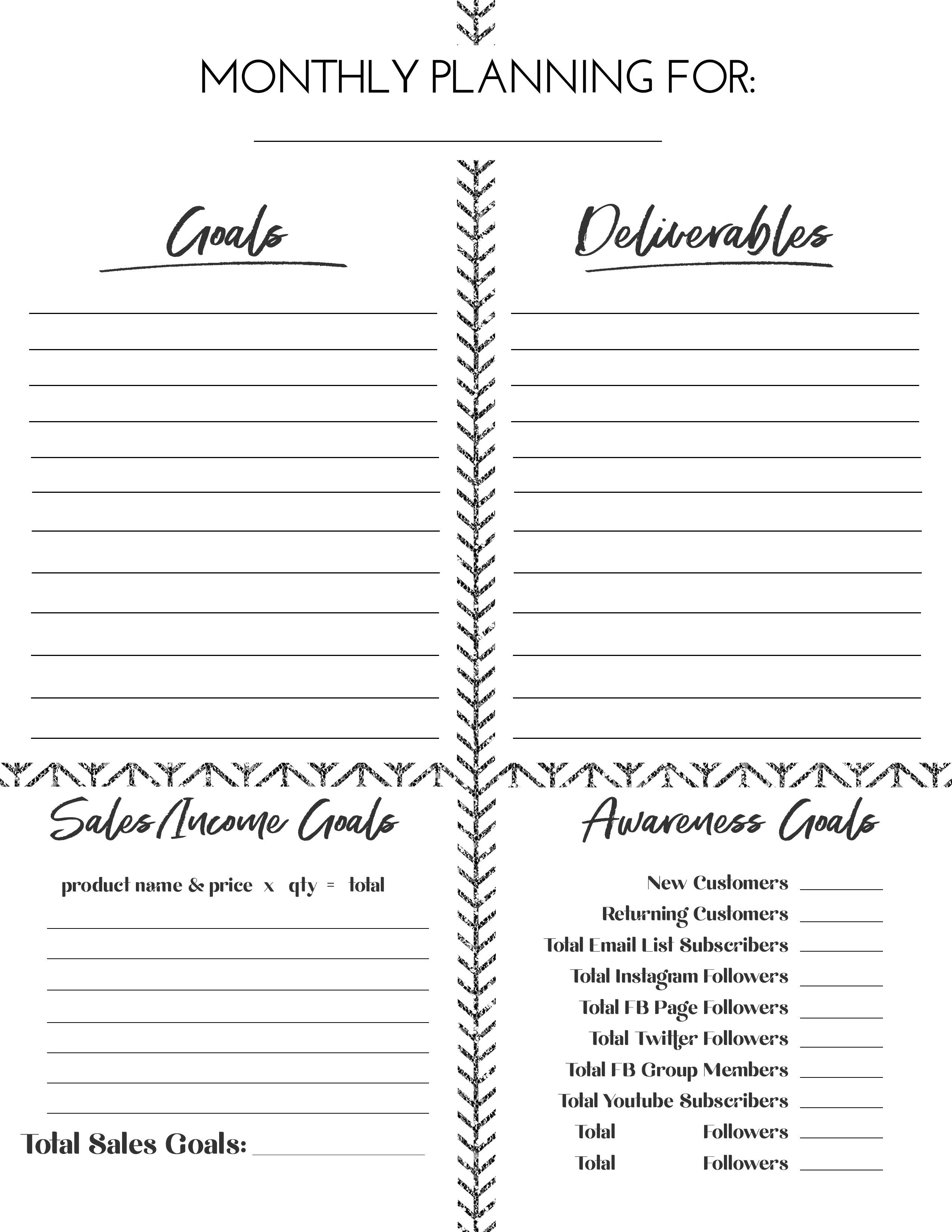 monthly goal planning
