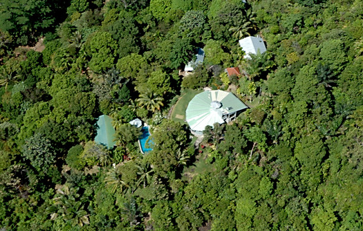 Birds eye view of the lodge buildings