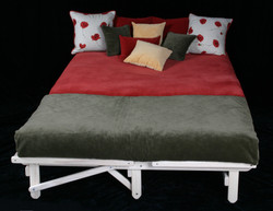 Loveseat and chair make a full bed