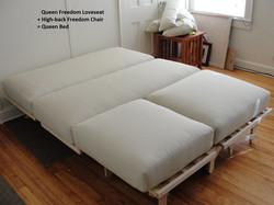 Queen Loveseat & Chair make a Bed