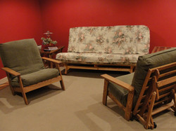 Futon Sofa and Chairs in the Den
