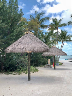 Artificial Thatch Structures on Beach