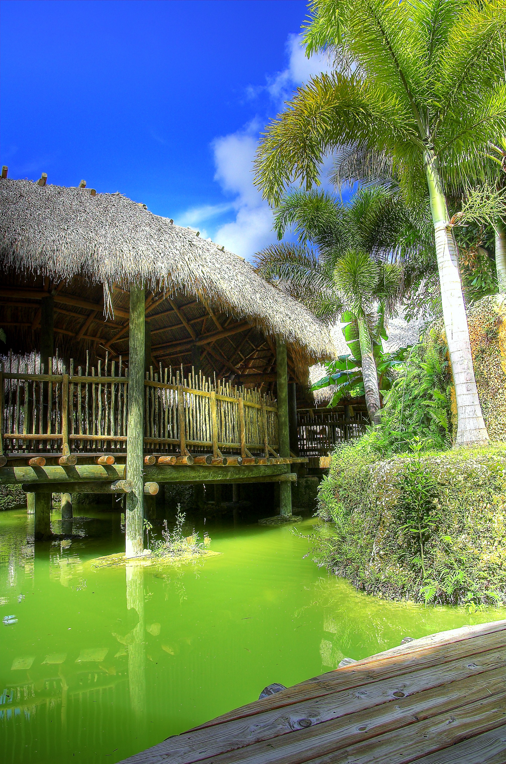 Tiki Huts Over water.