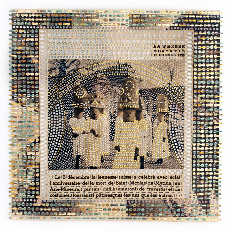 Le Défilé, La Presse, 12 décembre 1936, newspaper,  gold and copper leaf cut with x-acto knife, collage,15,5 x 16cm, 2019.