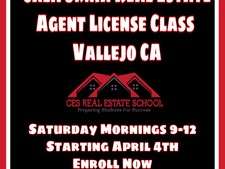 Real Estate Agent License Class in Vallejo Saturday April 4th