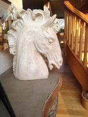 Horses head statue