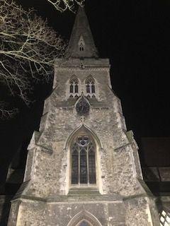 St. Edward's lit up