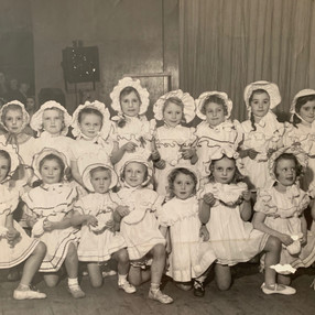 On stage at the Pavillion in 1948. Annabel Coleborn (far left)