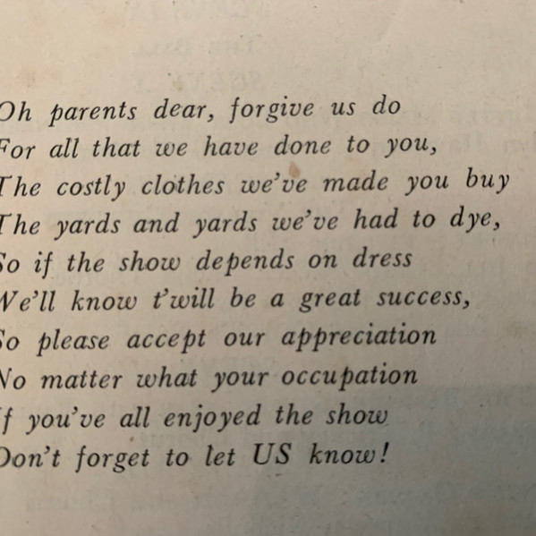 A poem for the parents printed in the programme.