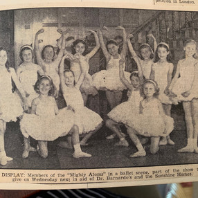 Ballet Group performing at the Pavillion. Annabel Coleborn is kneeling far left.