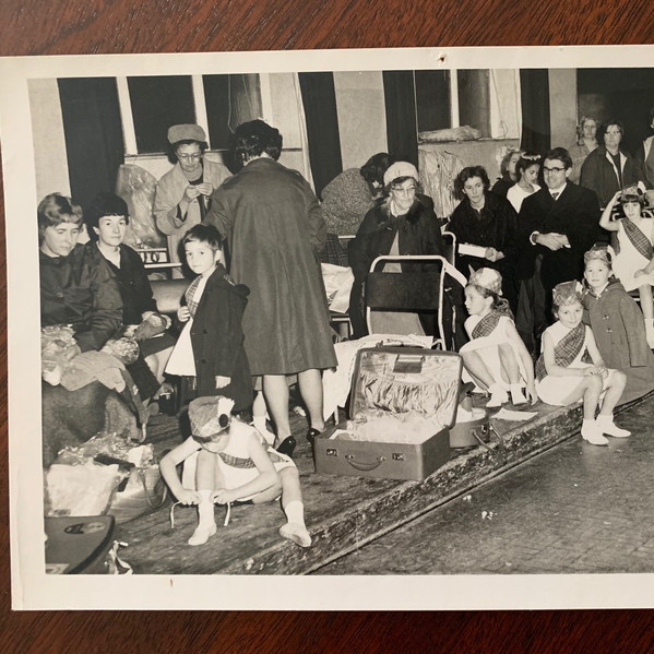 Estimated date 1955 - at the Pavillion waiting to perform