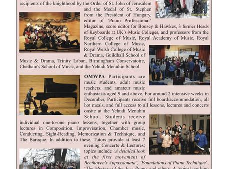 OMWPA in'The Pianist', by 'Friends of Hong Kong International Pianist Association' (香港國際鋼琴家之友)