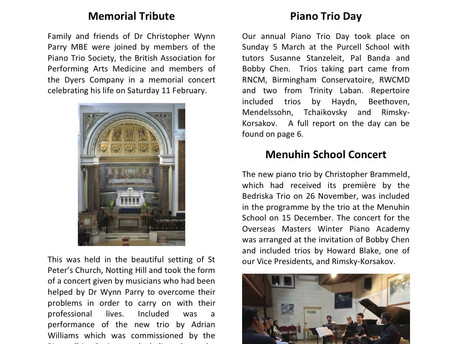 Piano Trio Society (PTS): Newsletter - Spring 2017
