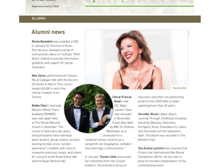 Yehudi Menuhin School: Newsletter 72 - Spring 2019 (page 12, bottom left)