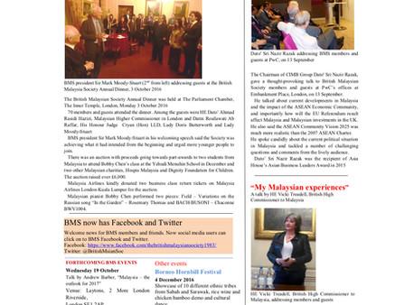 The British Malaysian Society (BMS): Newsletter - Autumn 2016