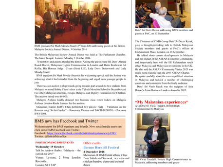 The British Malaysian Society (BMS): Newsletter - Autumn 2016