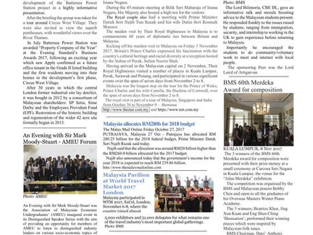 The British Malaysian Society (BMS): Winter - Autumn 2017