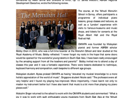 Piano Trio Society: Newsletter Spring 2019 (page 7) - mention of OMWPA
