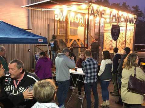 Axe Throwing event at Cape Cod Beer