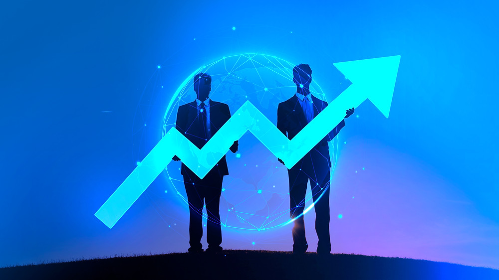 Two men holding a arrow pointing right and upwards with a jagged line