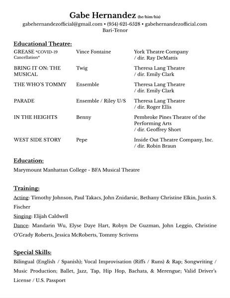 Theatre Résumé