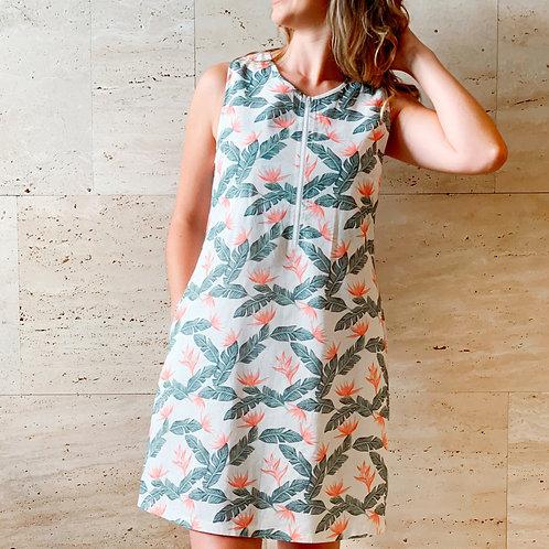 Linen Print Shift Dress