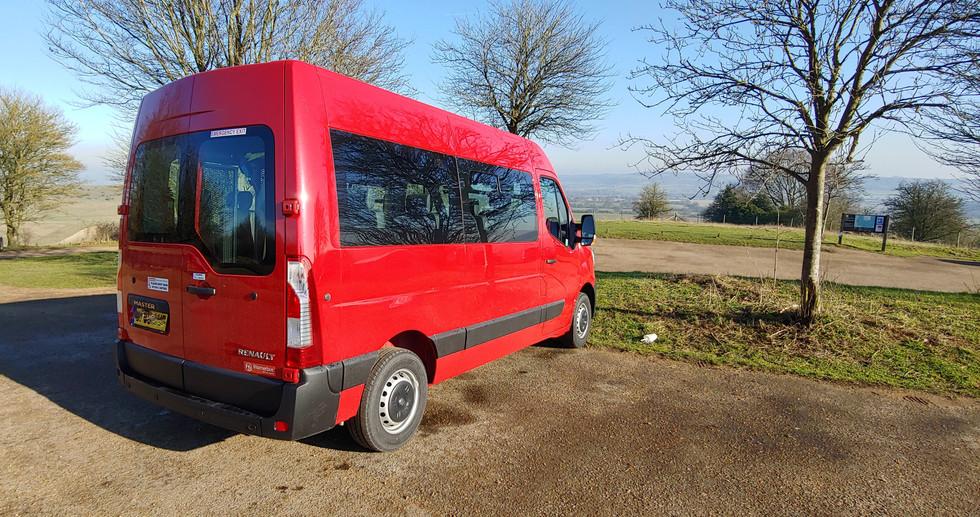 Rear view Warnerbus wheelchair accessible vehicle Renault Master