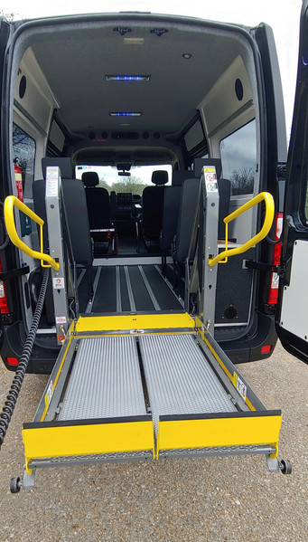 Half deployed tail lift in converted Ren