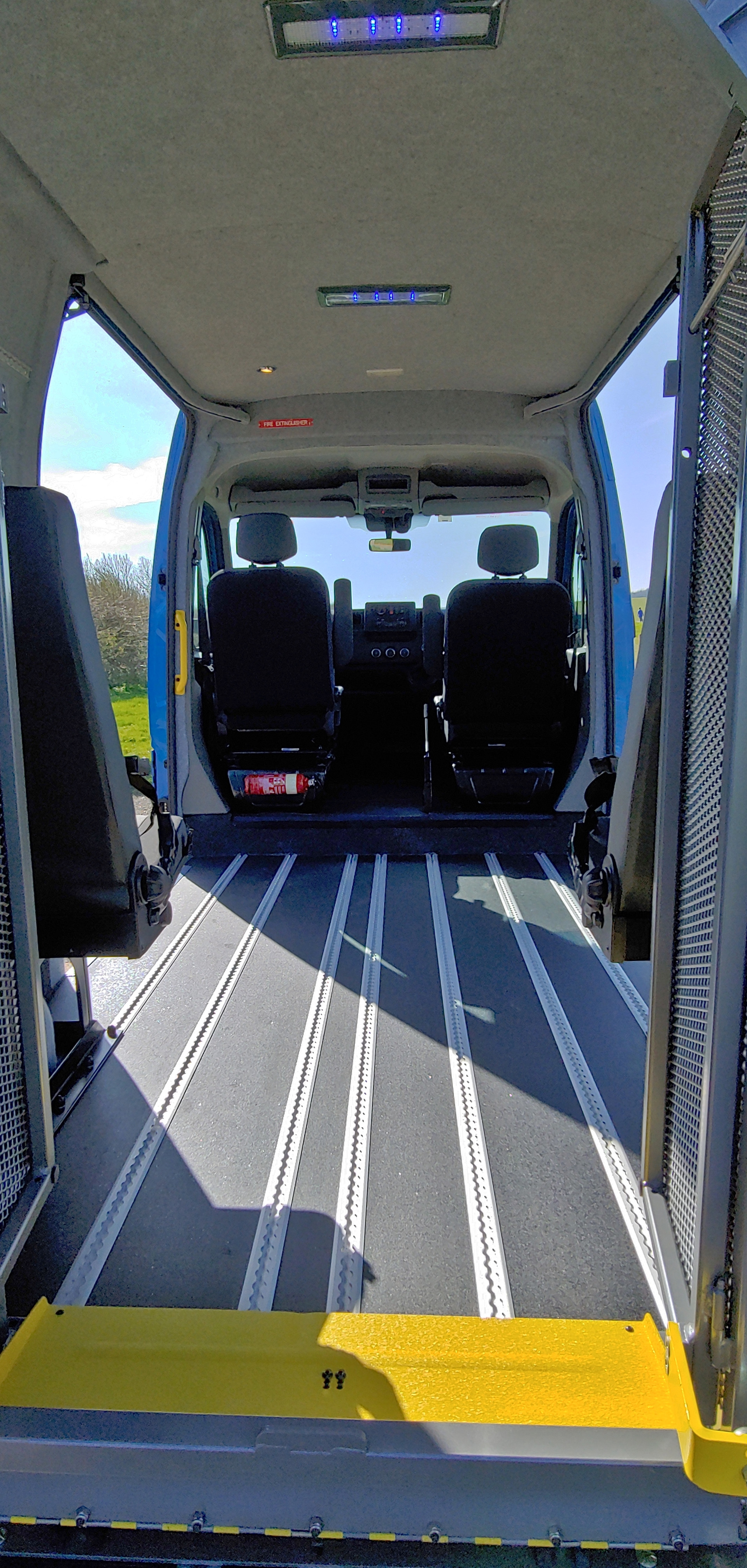 Rear access via tail lift in Warnerbus conversion