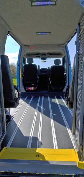 Rear access via tail lift in Warnerbus conversion