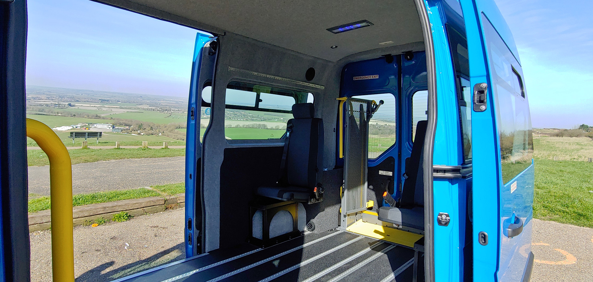 Rearward internal view Renault Master minibus conversion by Warnerbus