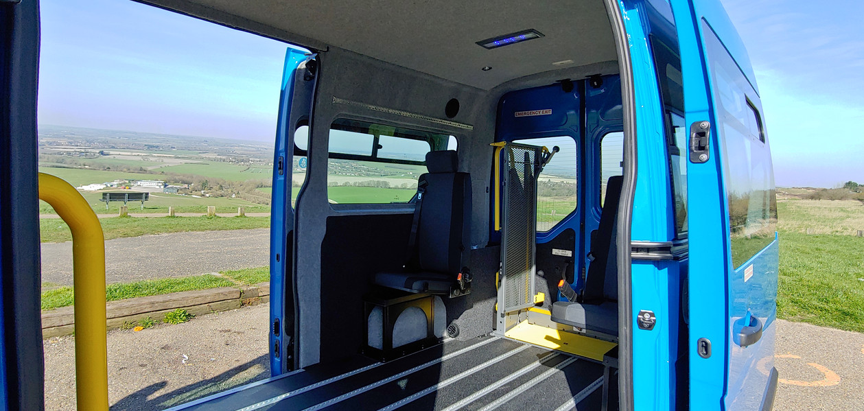 Rearward internal view Renault Master minibus conversion by Warnerbus
