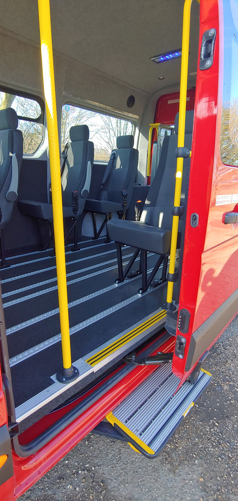 Dor operated side step fitted to Warnerbus Wheelchair Accessible Minibus