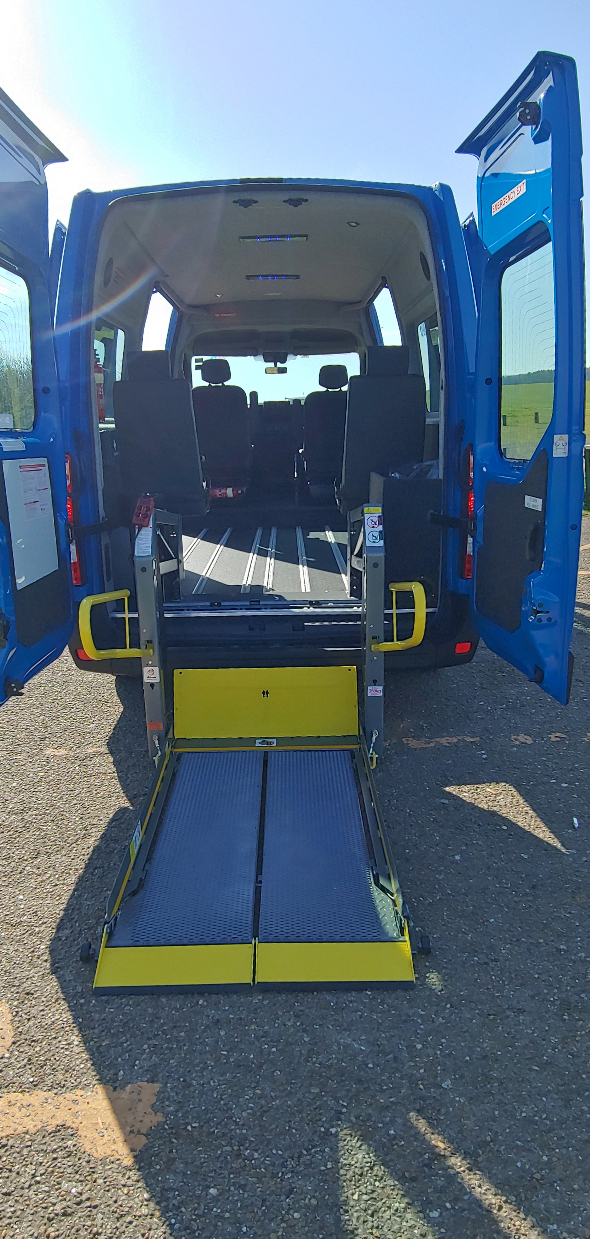 Ricon tail lift deployed Warnerbus converted minibus