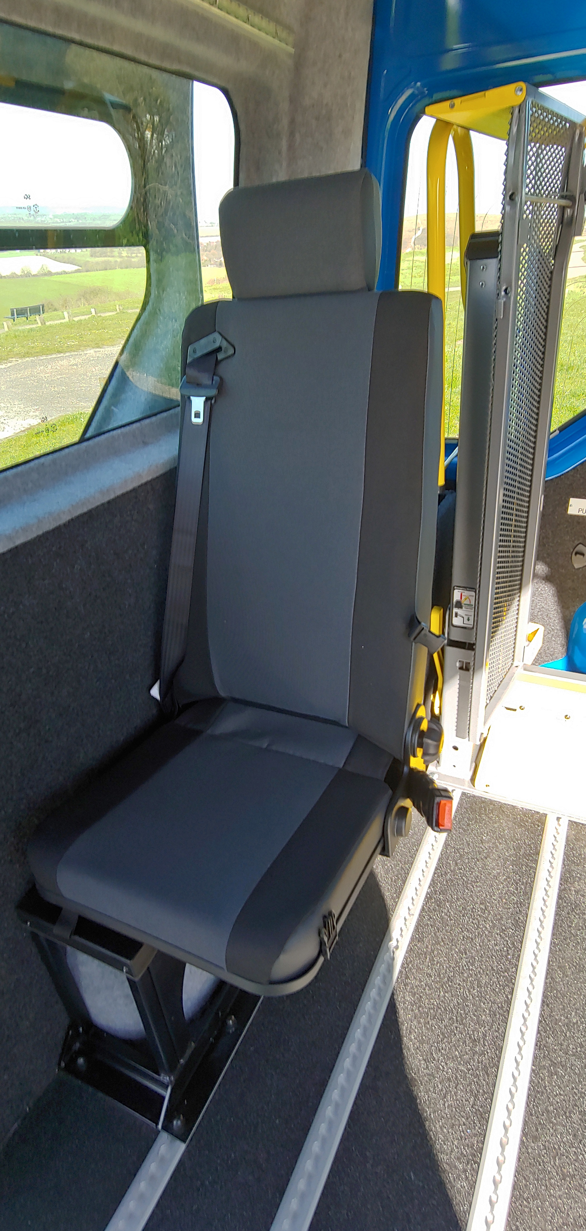 Folding seat in Warnerbus Conversion