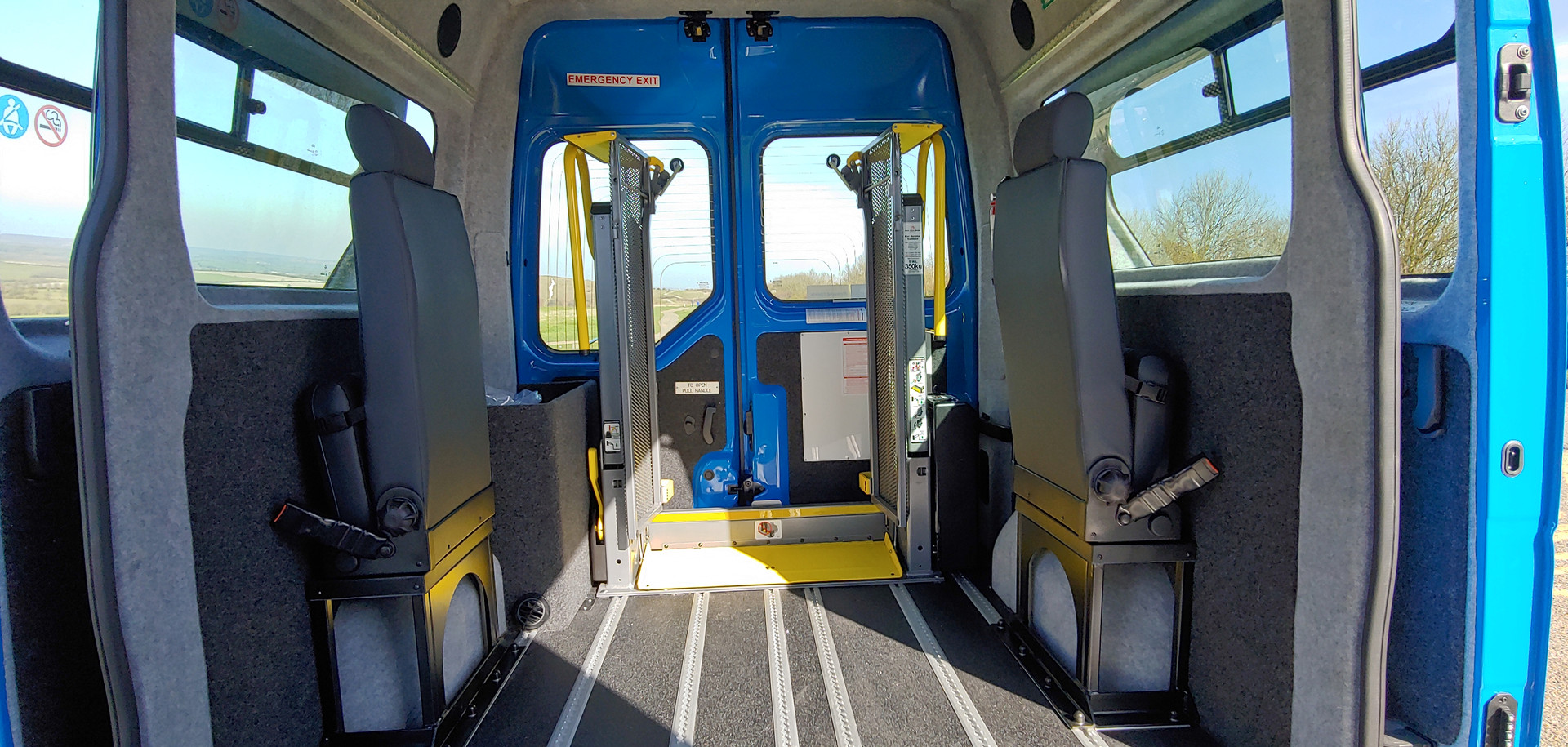 Seats folded away in Renault Master Wheelchair Accessible Vehicle